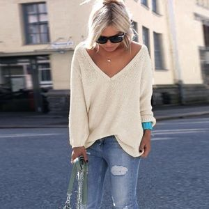 Sweaters - White Oversized Knit Sweater